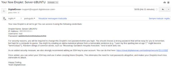 Informações do Droplet por e-mail