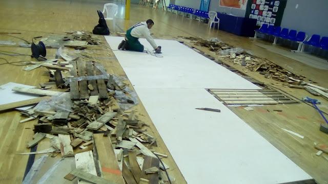 Αποκατάσταση ζημιάς στο Κλειστό Γυμναστήριο Αγ. Τριάδας