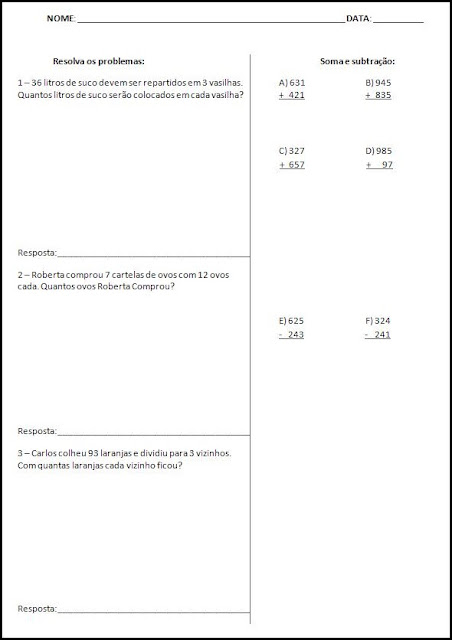 Sondagem de Português e Matemática - Atividades