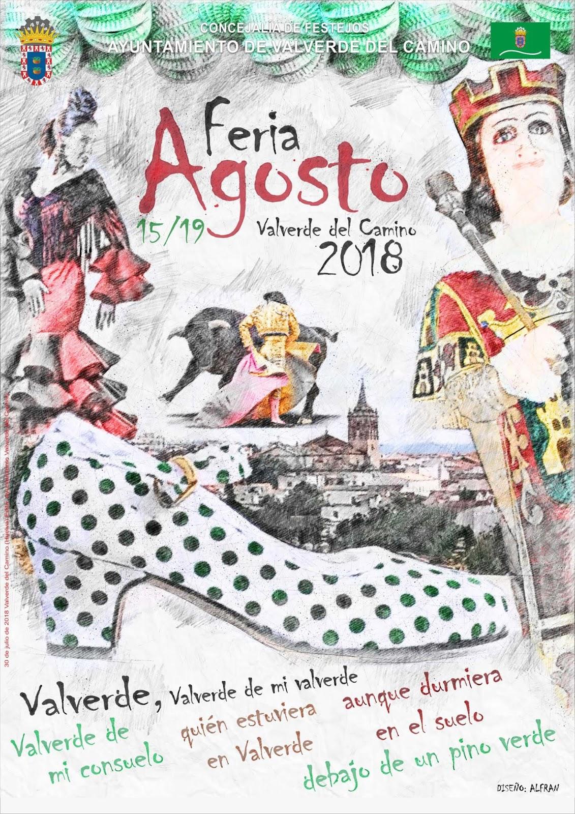 Cartel de Feria de Agosto 2018 en Valverde del Camino
