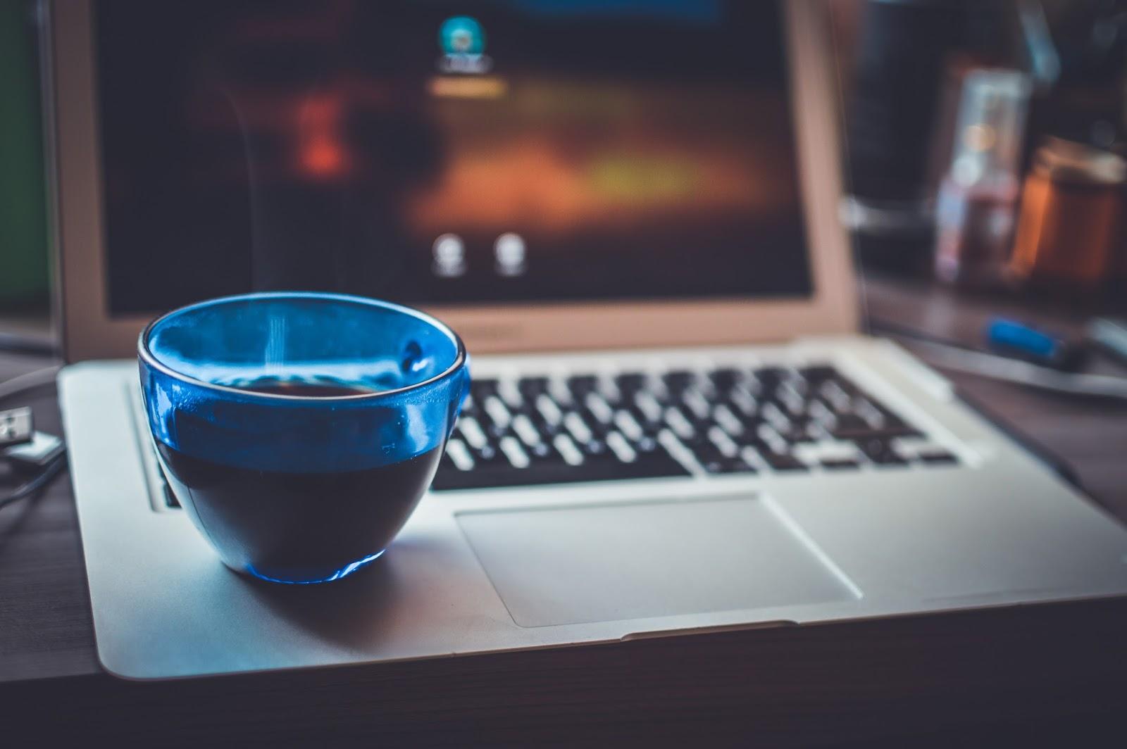 A Cup Of Tea On Laptop Desktop Wallpaper