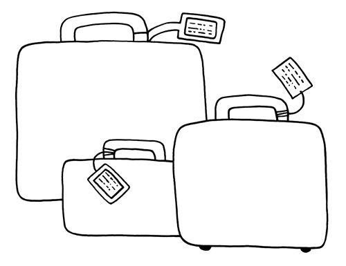 dibujos de maletas de viaje para colorear