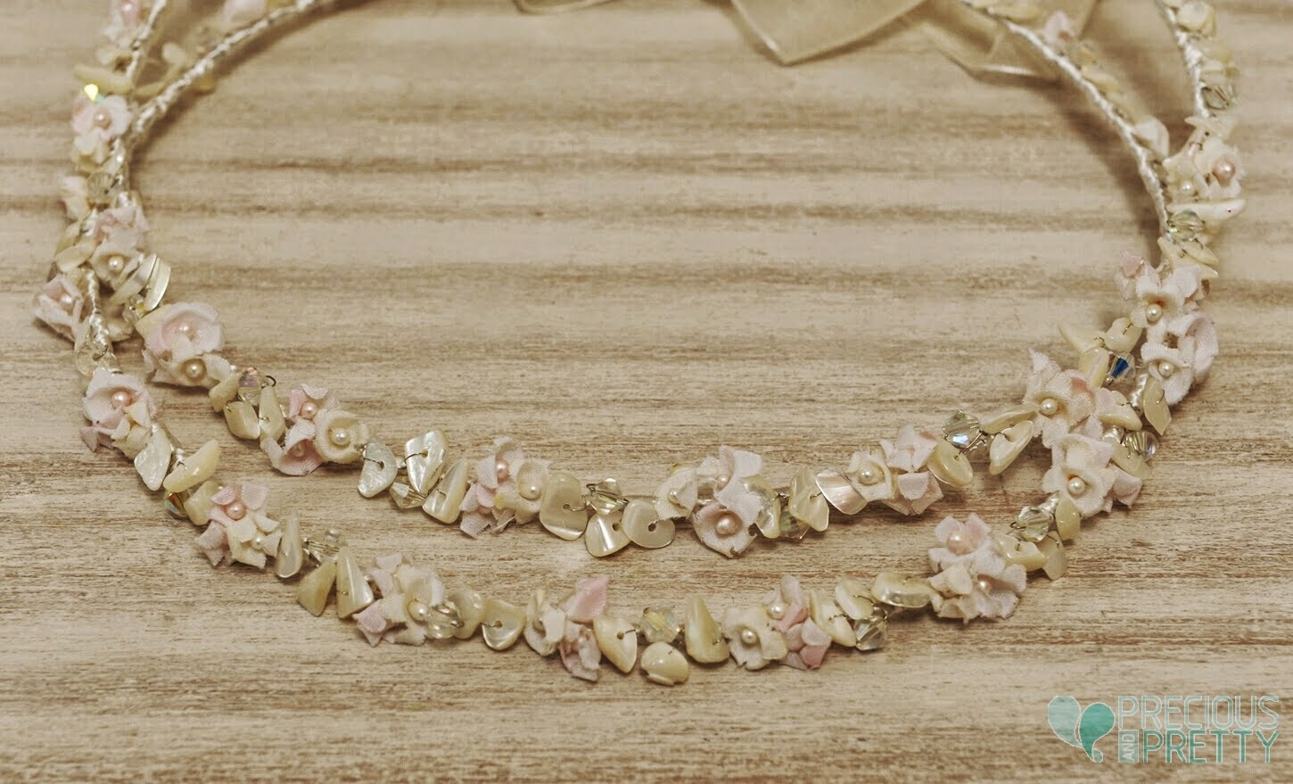Ivory wedding crowns with flowers