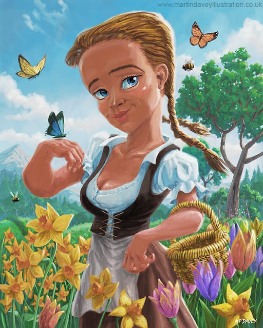 Davey cartoon illustration Girl in spring field
