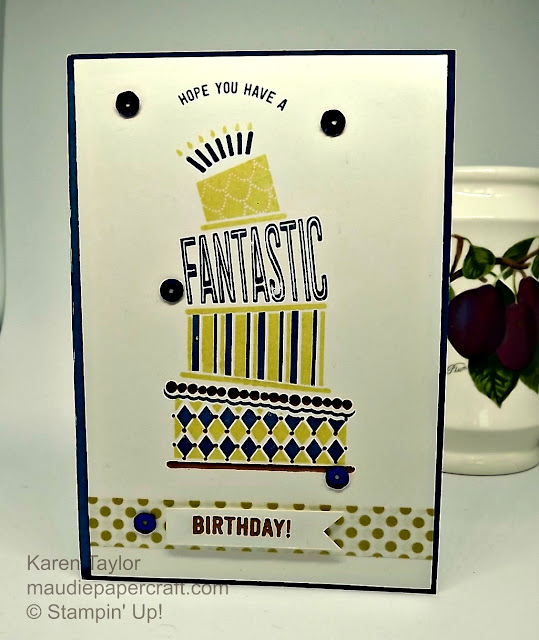 Stampin' Up! Cake Crazy card with heat embossing