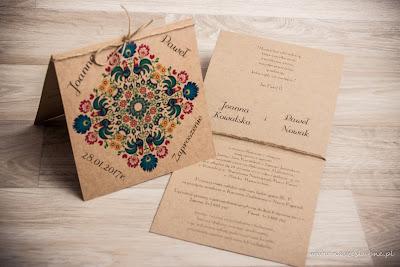 Zaproszenia Ślubne Mińsk Mazowiecki wzór łowicki