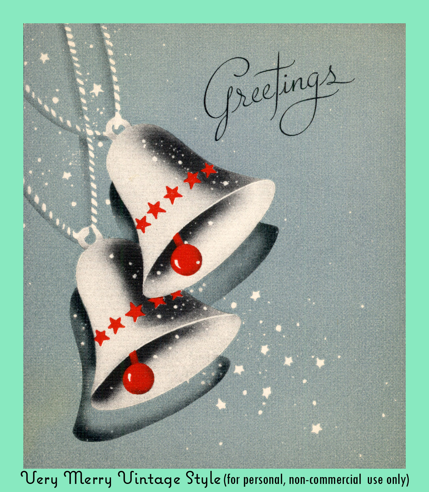 Very Merry Vintage Syle: Vintage Christmas Card {Silver Bells}