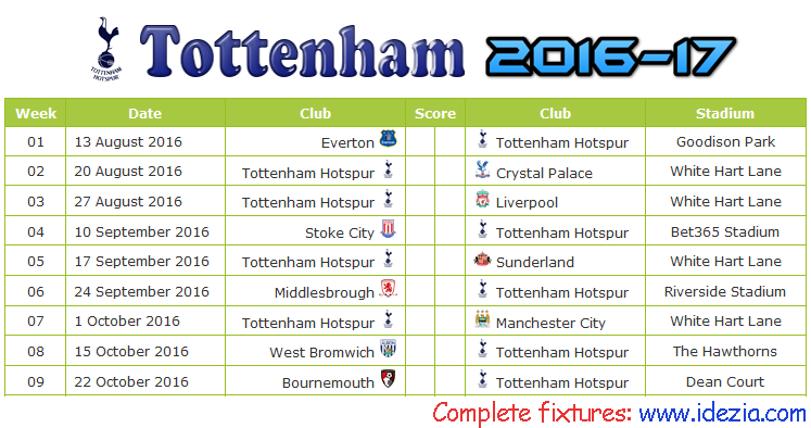 Download Jadwal Tottenham Hotspur 2016-2017 File PDF - Download Kalender Lengkap Pertandingan Tottenham Hotspur 2016-2017 File PDF - Download Tottenham Hotspur Schedule Full Fixture File PDF - Schedule with Score Coloumn
