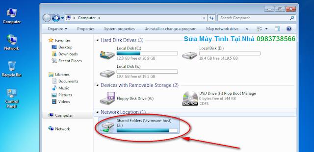 Dữ liệu đã được Share từ máy thật sang máy ảo VMware