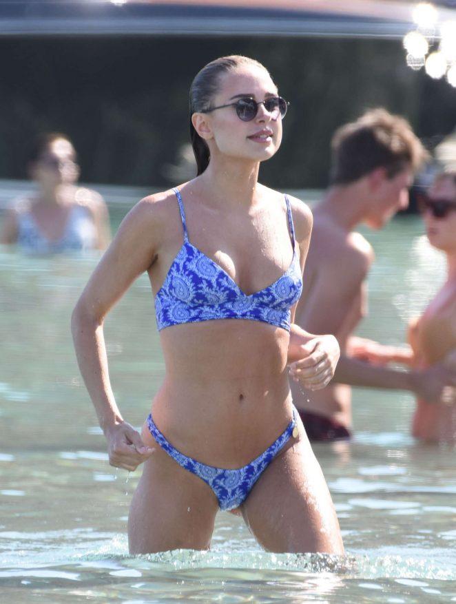 Kimberley Garner in Blue Bikini at the beach in Mykonos