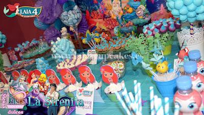 Mesa dulce tarta personalizada fondant cakepops cupcakes mini cookies chuches vasitos La Sirenita Ariel Eric Triton Ursula Laia's Cupcakes Puerto Sagunto