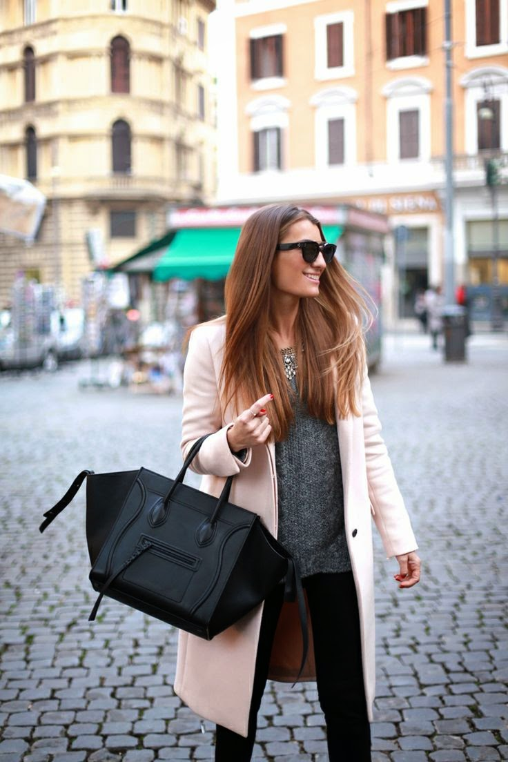 Wearing a Pastel Pink Coat with Grey Sweater and Black Celine Bag for Autumn/Winter 2014