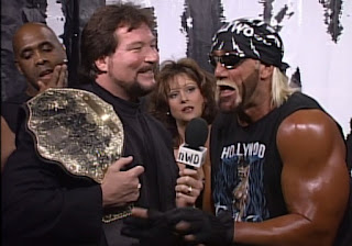 WCW Starrcade 1996 - Vincent, Ted Dibiase, Elizabeth, and Hollywood Hulk Hogan - NWO
