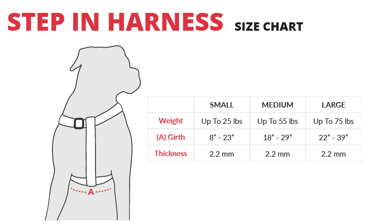 PrideBites Step-In Harness sizing chart