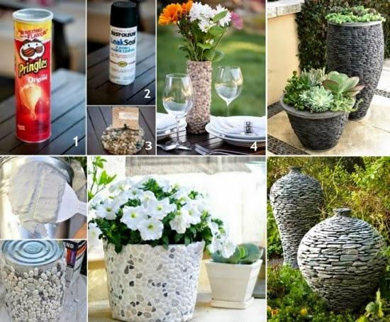 DIY γλάστρες με πέτρες και βότσαλα
