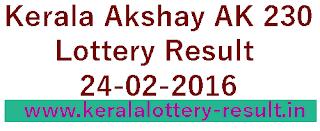 Kerala lottery result, Akshaya Lottery result, Akshay AK-230 lottery result, Todays Akshaya Ak230 Lottery result, Kerala lotteries Akshaya AK 230 result, kerala akshayaak230 lottery result, kerala todays lottery result 24/02/2016, akshaya lottery result 24-02-2016