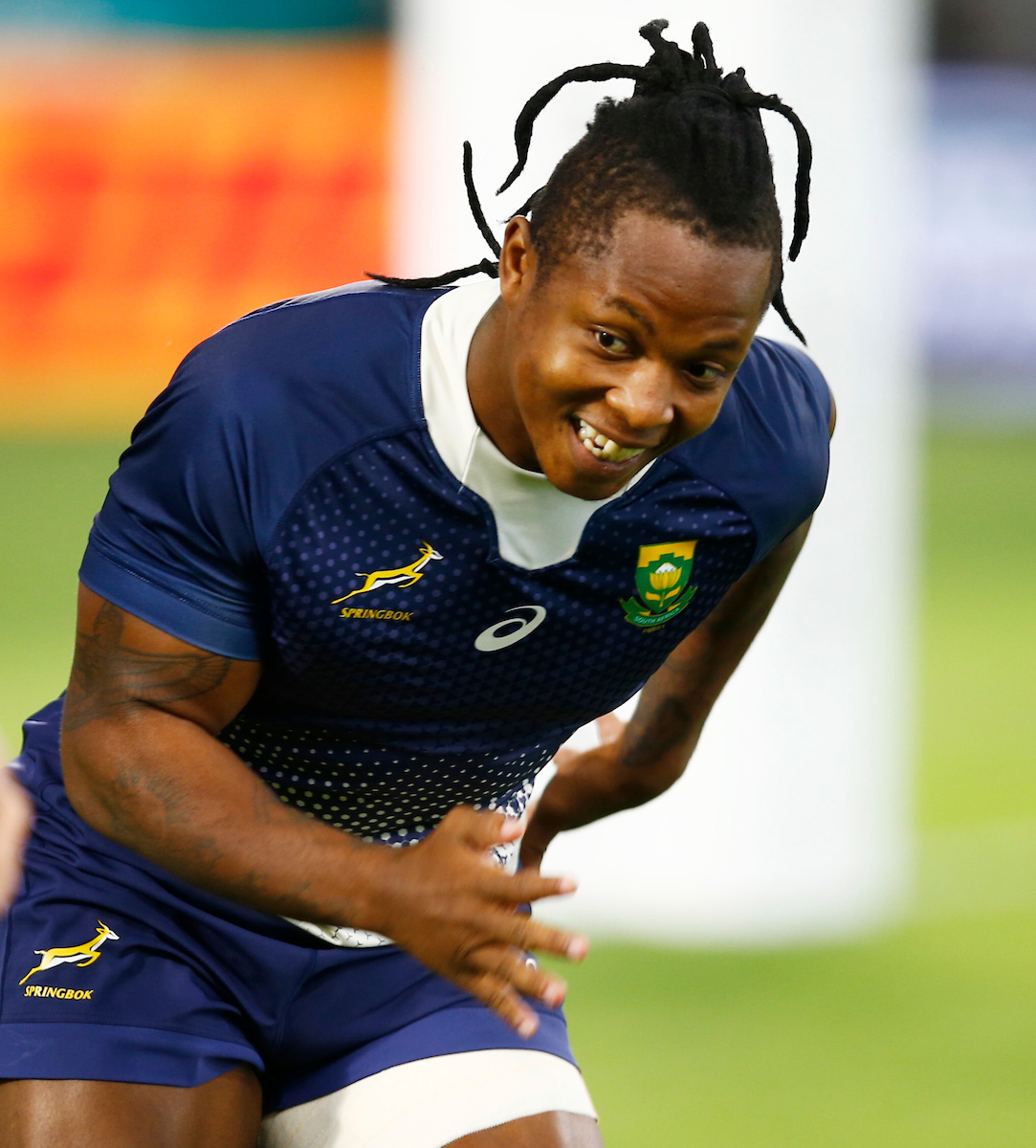 Sbu Nkosi during the South Africa Captain's Run at the Kobe Misaki Stadium Monday 7th October 2019