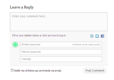 Wordpress comment form
