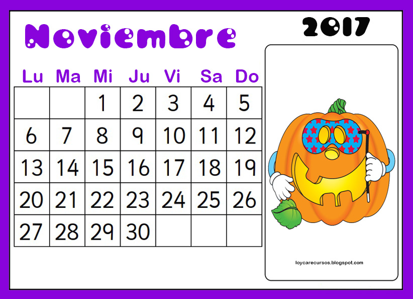 Recursos de educaci n infantil calendario mes de noviembre - Mes noviembre 2017 ...