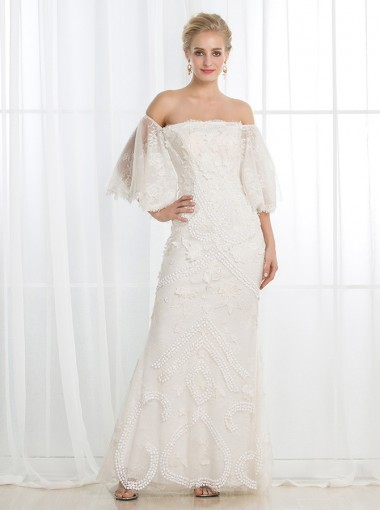Sheath Strapless Floor-Length Lace Wedding Dress with Appliques
