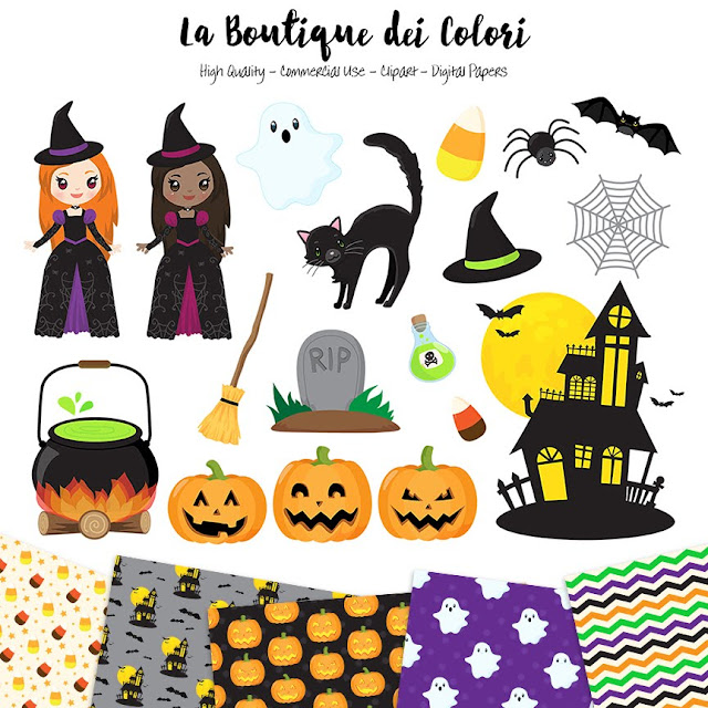 Halloween Clipart, Cute Digital illustrations PNG, Spooky, pumpkin, hunted house, ghost, witch Clip art, Planner Stickers Commercial Use