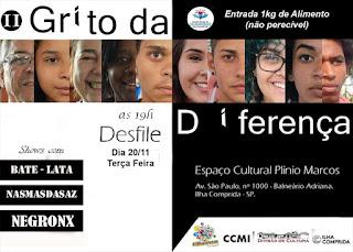 """Cultura da Ilha, Ilha Jovem e CCMI convidam o público   para shows e desfile """"O Grito da Diferença"""""""
