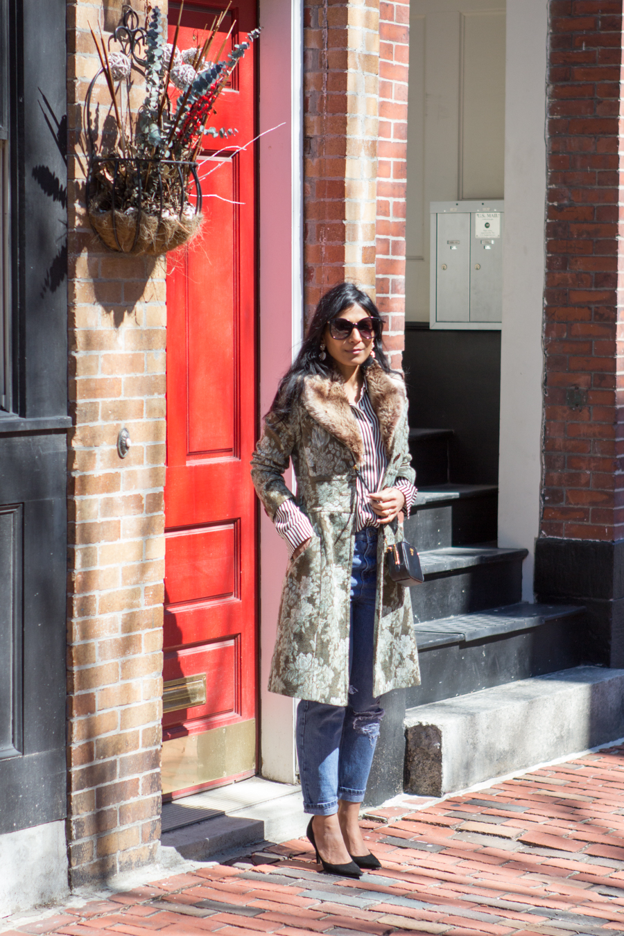 floral jacket, jacquard coat, statement coat, spring style, florals, green coat, mom jeans, black suede pumps, under $100, striped shirt, striped blouse, black and white stripes, eclectic, feminine style, easy glam, petite fashion, boston street style, black mini bag