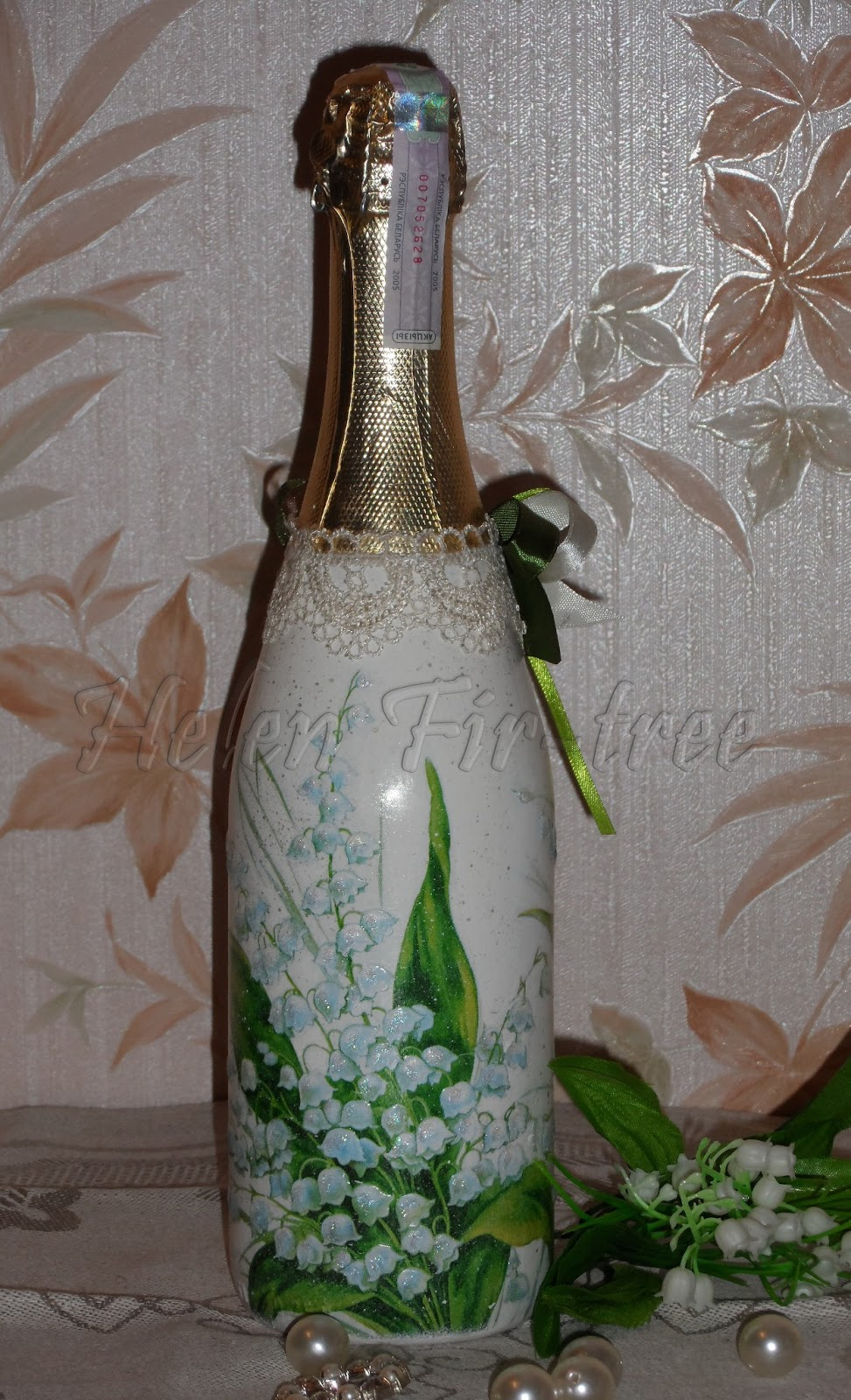 Helen Fir-tree декупаж бутылки decoupage bottle