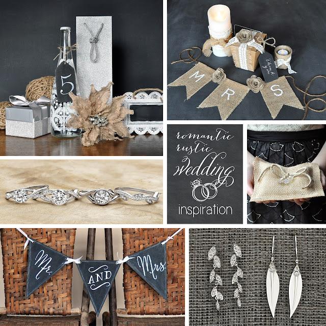 Romantic Rustic Wedding Mood Board Inspiration | featuring wedding rings by Brilliant Earth | Creative Bag blog