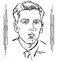 O jovem Renato Pacheco em desenho de Haroldo Zaluar.