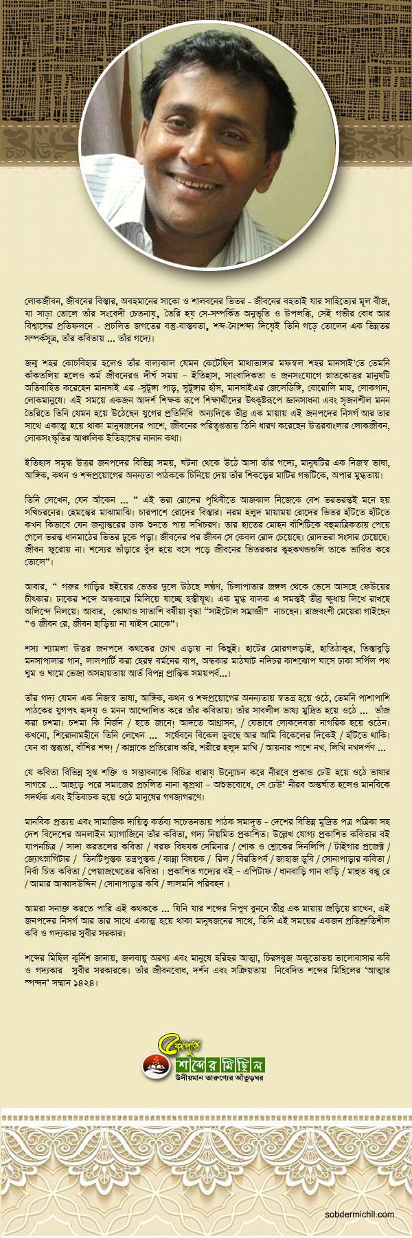 'আত্মার স্পন্দন' সম্মান ১৪২৪ / সুবীর সরকার
