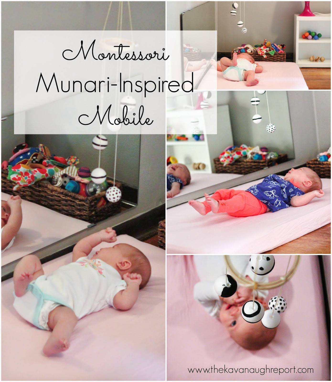 An overview of the Montessori baby visual mobile series. The visual series includes the Munari, Octahedron, Gobbi and Dancers mobiles and are the first work for infants from birth until they are several months old.