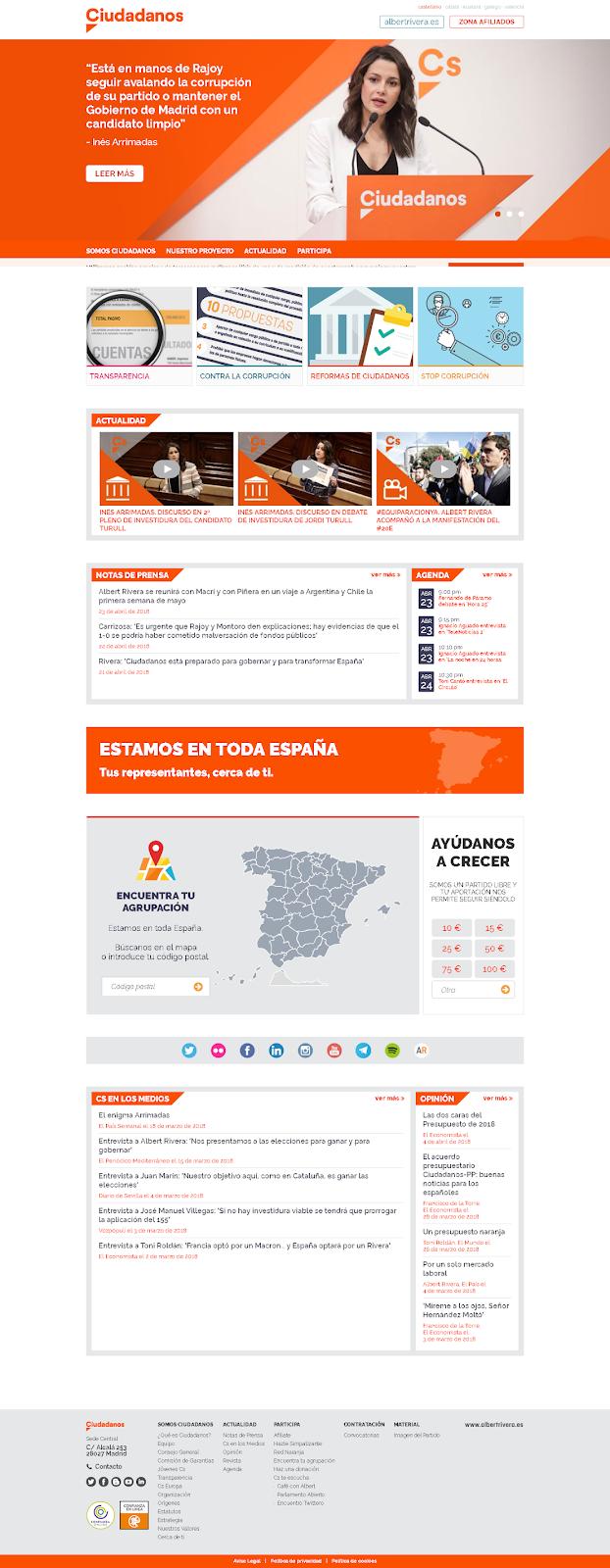 web portada de Ciudadanos