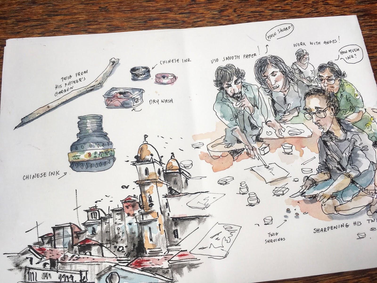 Kiah Kieans Sketching With Dry Twig & Chinese Ink