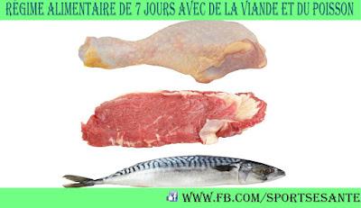 Régime alimentaire de 7 jours avec de la viande et du poisson