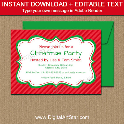 red christmas invitation download