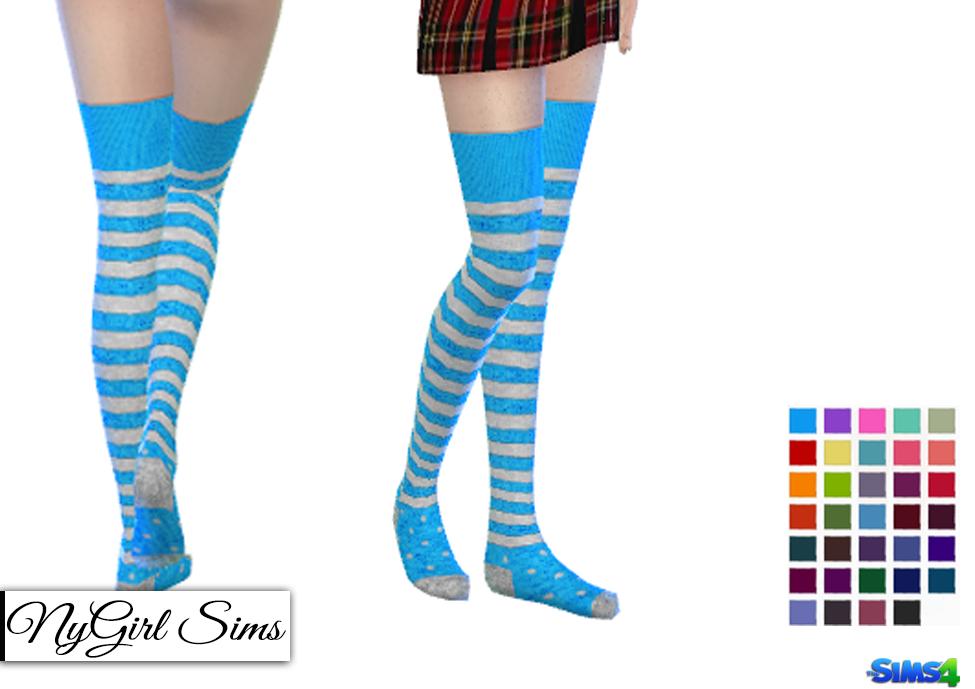 The Sims 4 Snake Thigh Tatoo: NyGirl Sims 4: Stripes And Polka Dot Thigh High Socks