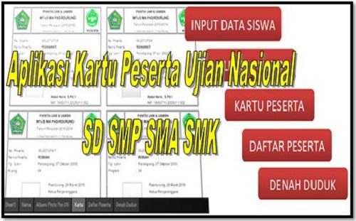 Aplikasi Kartu Peserta Ujian Nasional SD SMP SMA SMK