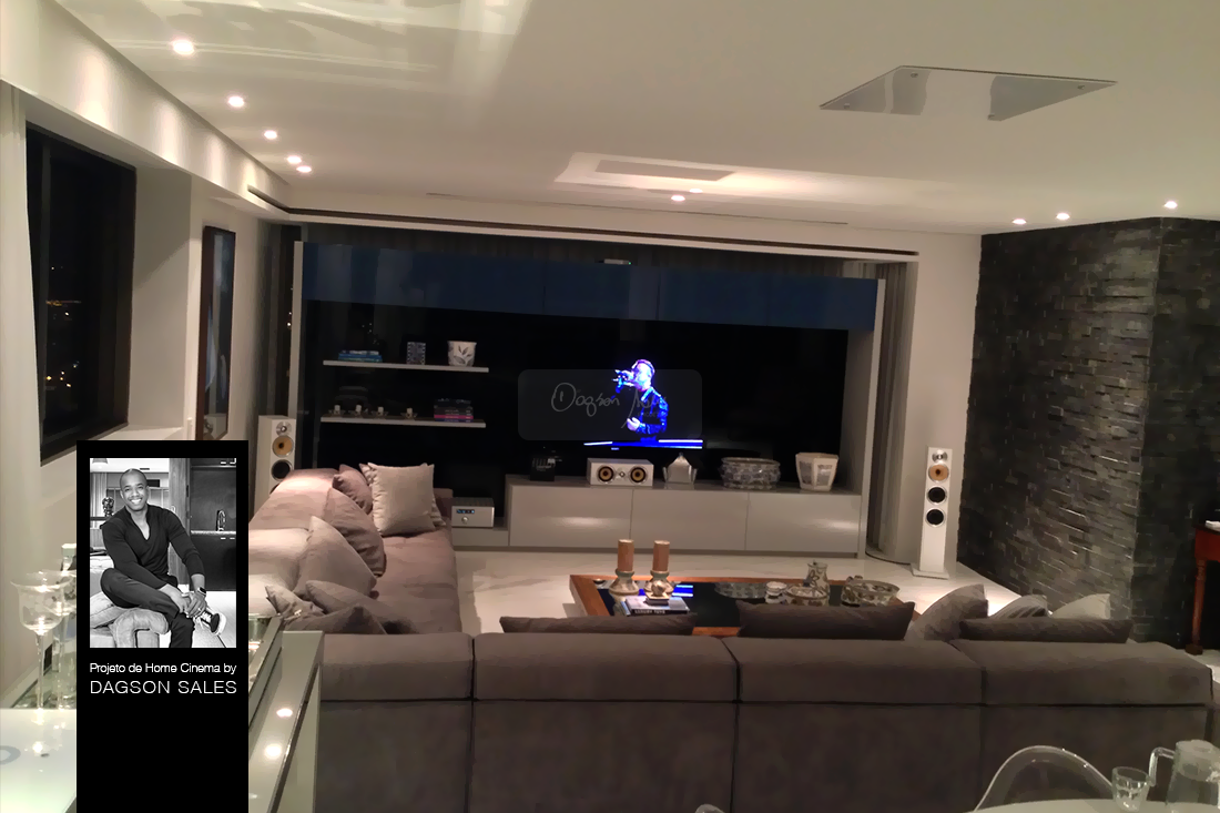 Dagson Sales assina projeto de luxuosa sala de home cinema para apartameto em Recife / PE