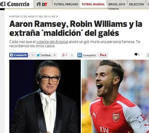 """Aaron Ramsey được dân mạng gọi vui là """"Thần chết"""""""