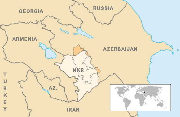 Map of the breakaway Nagorno-Karabakh Republic relative to Armenia and Azerbaijan