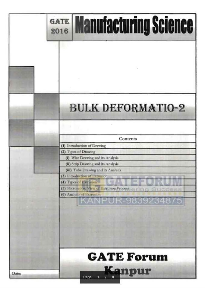 MANUFACTURING SCIENCE BULK DEFORMATION-2 [GATE FORUM]