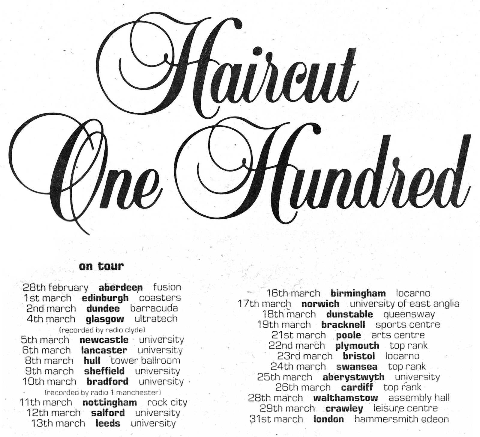 Retro Dundee Haircut 100 Caird Hall 1982