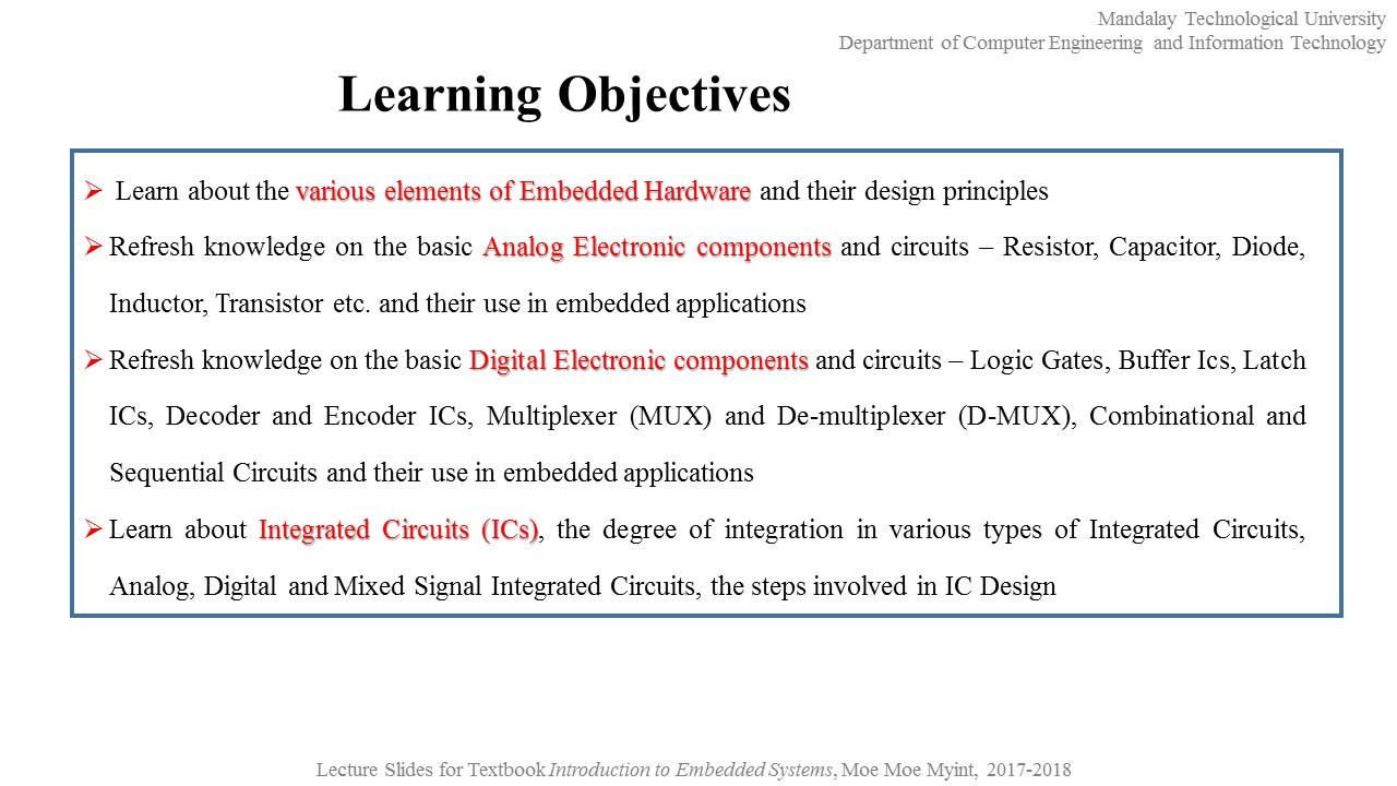 Dr Moe Myint Embedded System Ii 2nd Portion Chapter 8 Buy Integrated Electronics Analog And Digital Circuits Systems 2 Hardware Design Development
