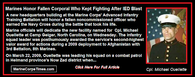 Marines Honor Fallen Corporal Who Kept Fighting After IED Blast