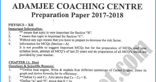 Summary -> Adamjee Coaching Physics Notes For Class 10th