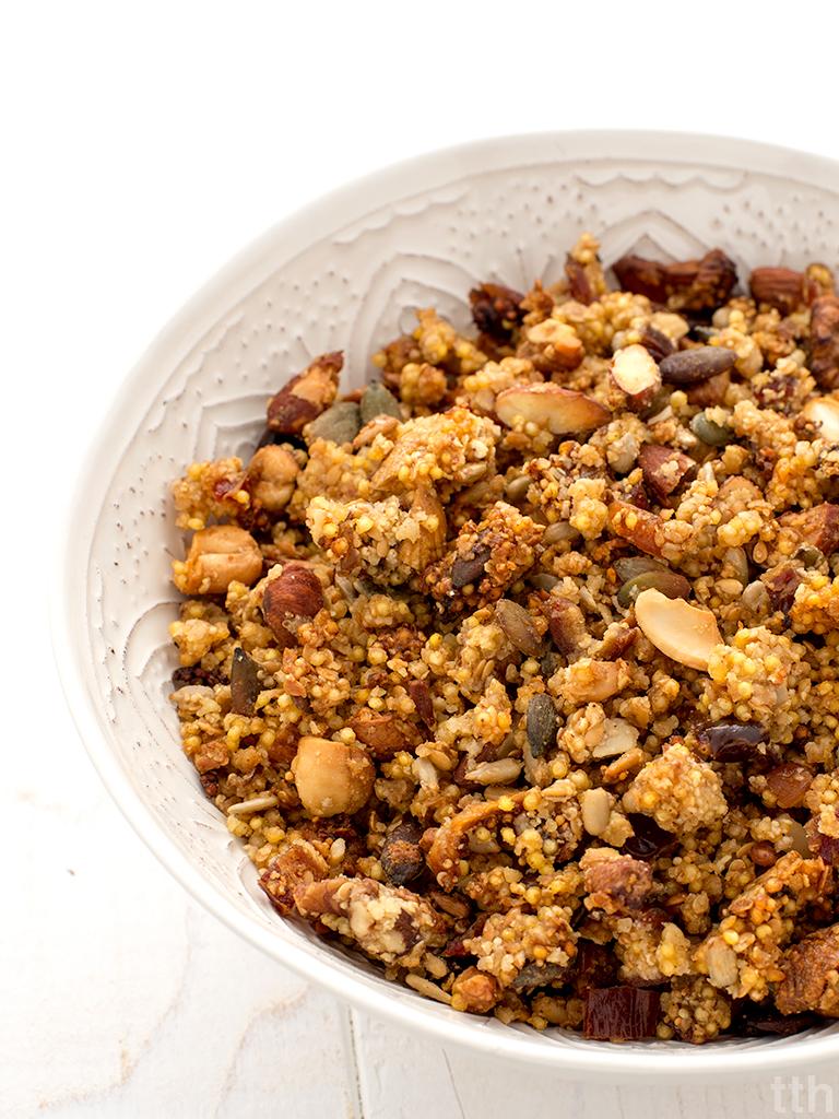 Granola z kaszy jaglanej wegańska, bezglutenowa roślinna kuchnia blog kulinarny