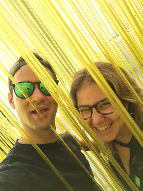 Jamie Allison Sanders, Gerold Schroeder, LACMA, Los Angeles, art museum, yellow cord display