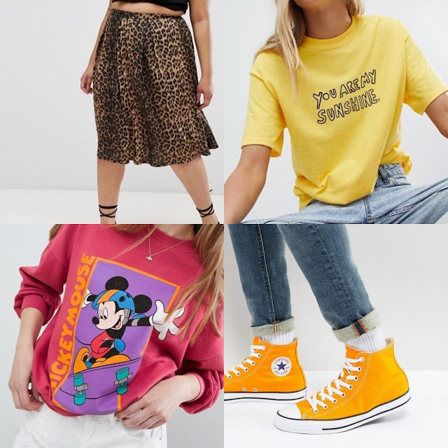 Curve box pleat midi skirt in leopard print || Converse Chuck Taylor All Star Hi Plimsolls In Orange ||  Pull&Bear mickey mouse sweater in pink || Daisy Street Boyfriend T-Shirt With Sunshine Print ||