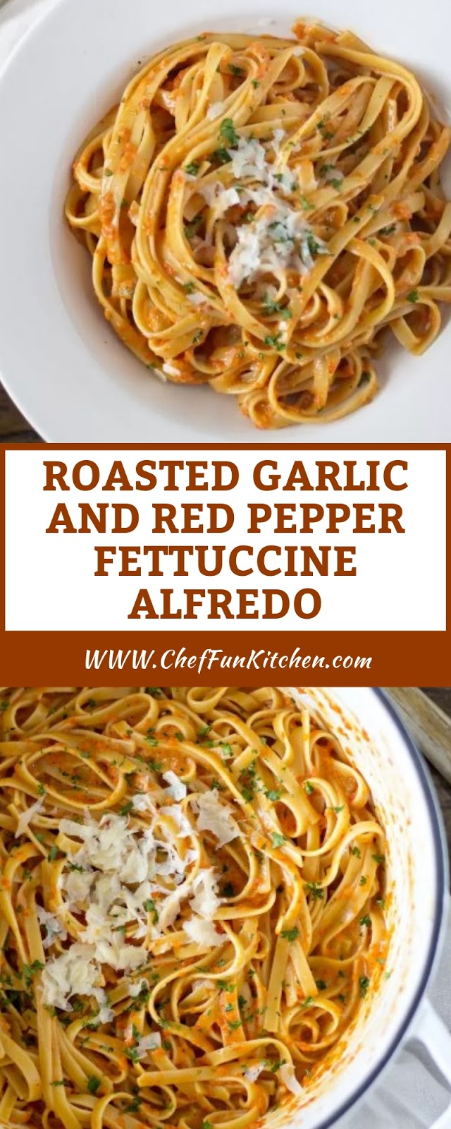 ROASTED GARLIC AND RED PEPPER FETTUCCINE ALFREDO